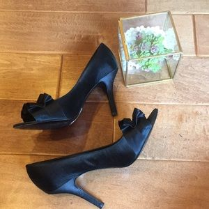 Tahari Sloan Satin Peep Toe High Heel Shoes